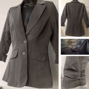 EUC Gray blazer with ruched sleeves - XS